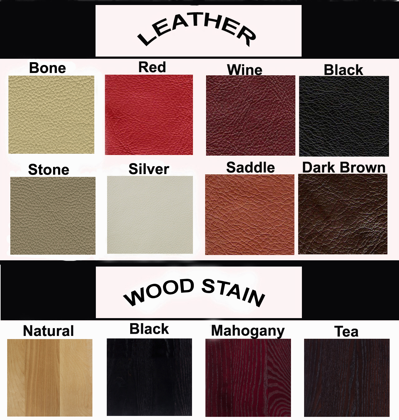 CLICK HERE To View Leather And Wood Stain Colors