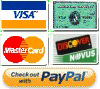 We accept Visa, Mastercard, Amex and Discover