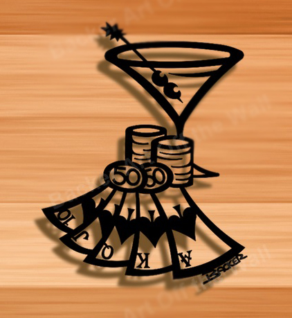 Image Of MARTINI CARDS And POKER CHIPSbrMETAL WALL DECOR