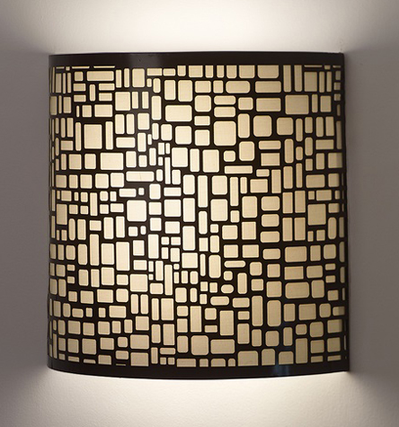 Image Of Geometric Black Barrel Battery Operated Art Sconce 2901